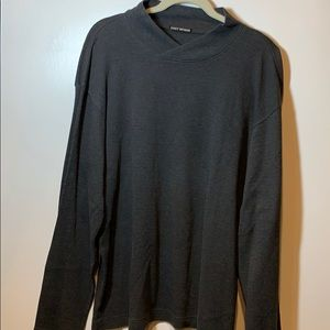 Issey Miyake Men's Gray V-Neck Wool Sweater